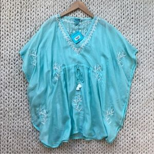 Letarte Seafoam Mint Embroidered Swimsuit Coverup